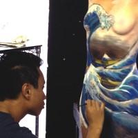 Great Wave of Kanagawa body painting process