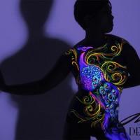 peacock uv body painting