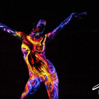 burning uv phoenix body painting