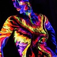 burning uv phoenix body painting at DenArt studio NYC