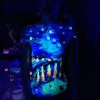 Starry Night over the Rhone UV body painting